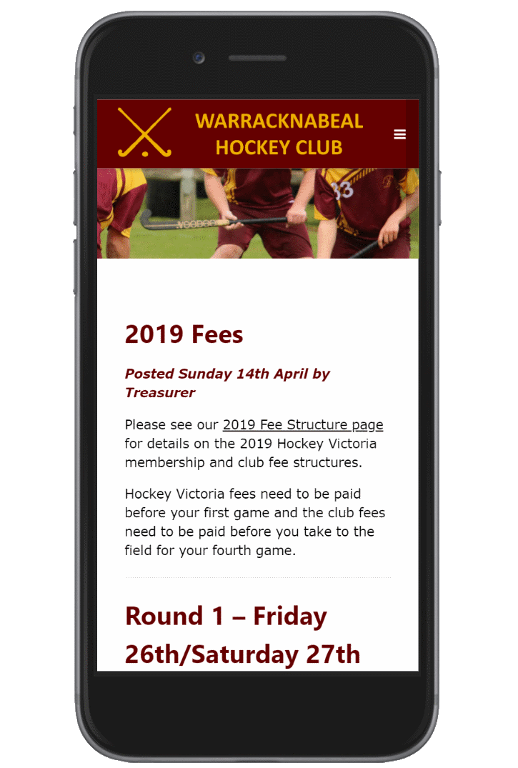 Warracknabeal Hockey Club Website Screenshot
